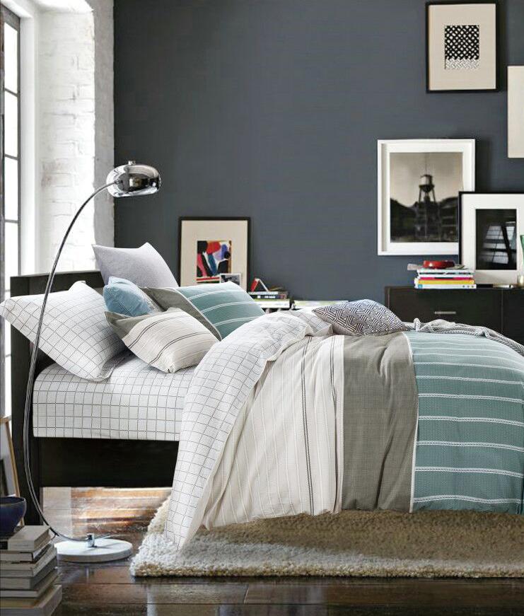 Купить Комплекты постельного белья Tango, Постельное белье Jada (2 сп. евро), Китай, Белый, Зеленый, Серый, Хлопковый сатин