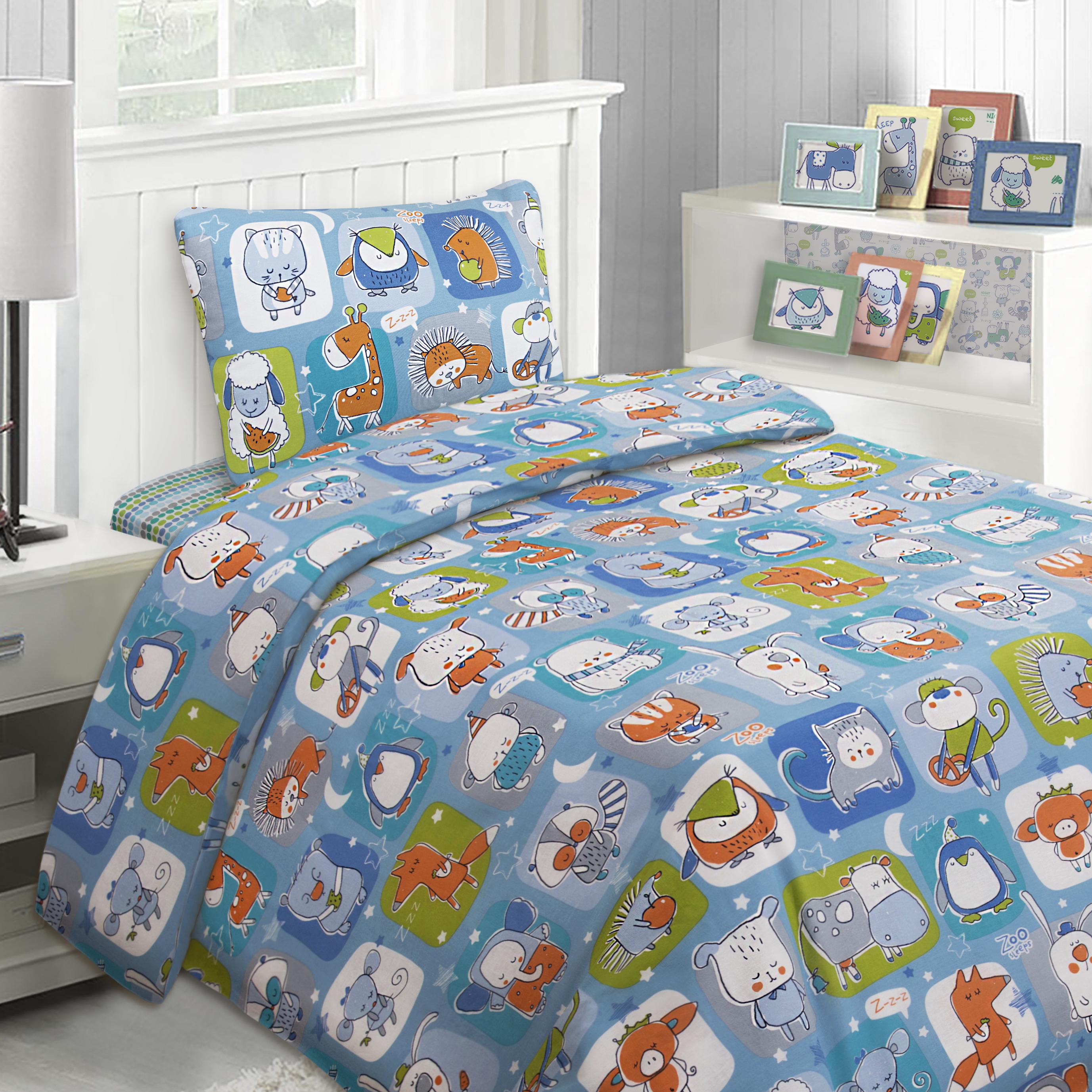 детское постельное белье Mona Liza Детское Постельное белье Спящий Зоопарк В Квадрате Цвет: Салатовый (145х210 см) цена