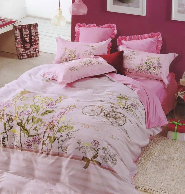 Купить Комплекты постельного белья Tango, Постельное белье Abiud (семейное), Китай, Розовый, Хлопковый сатин