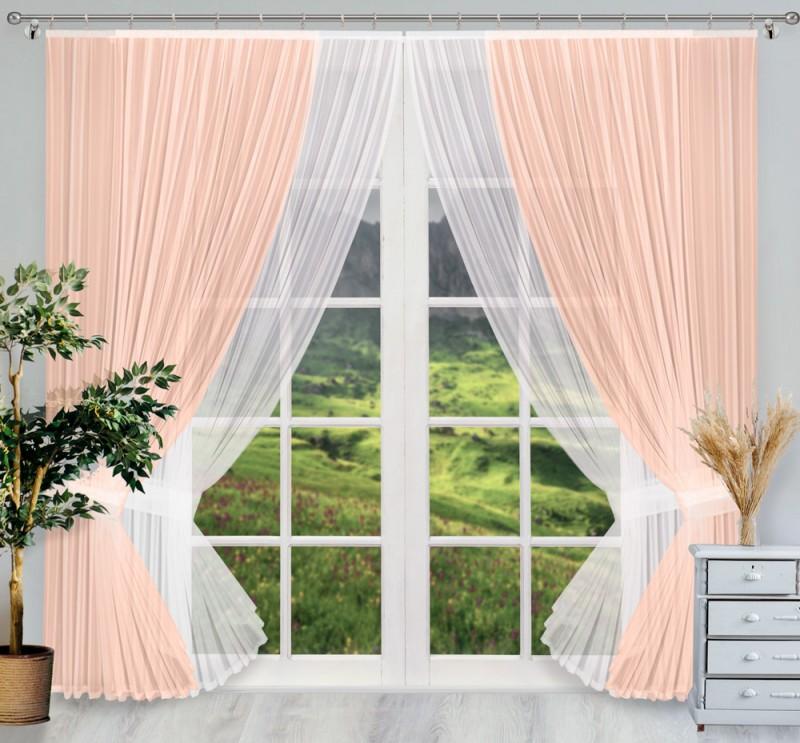 Купить Шторы Wisan, Классические шторы Donella Цвет: Фламинго, Белый, Польша, Вуаль