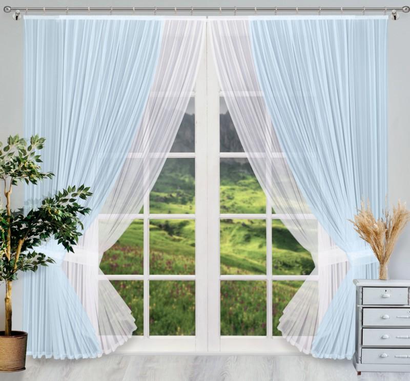 Купить Шторы Wisan, Классические шторы Donella Цвет: Голубой, Белый, Польша, Вуаль