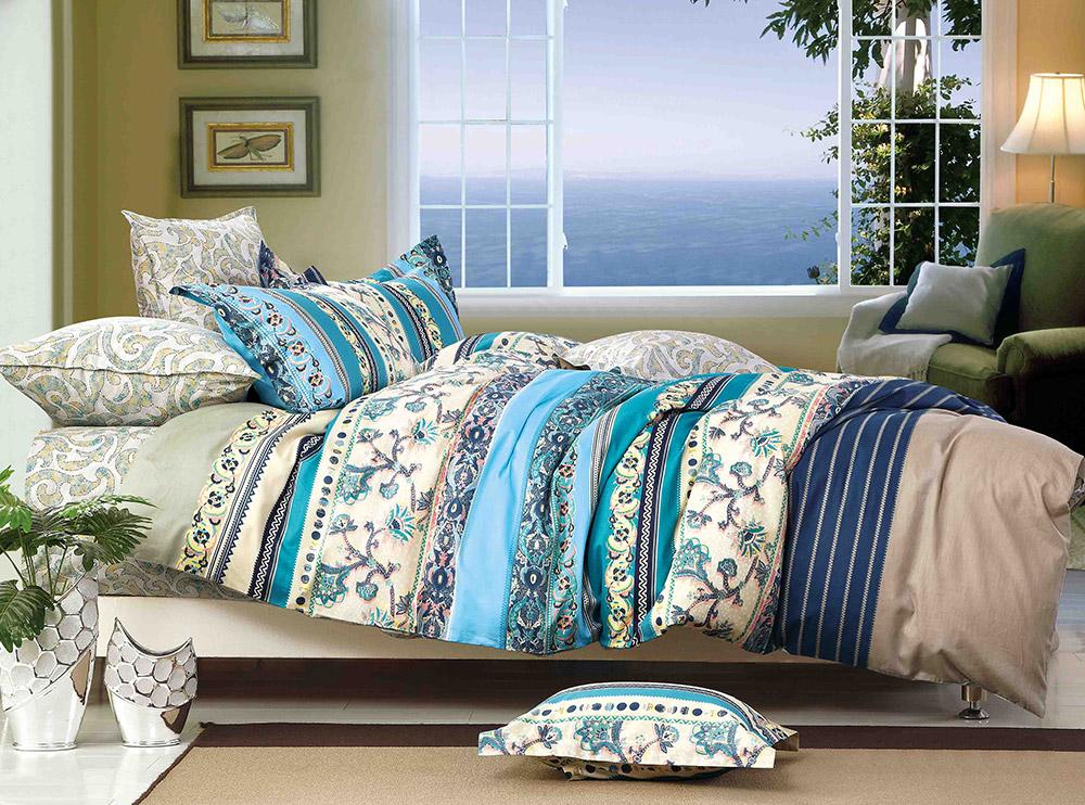 Купить Комплекты постельного белья Tango, Постельное белье Melinda (2 спал.), Китай, Голубой, Зеленый, Кремовый, Хлопковый сатин