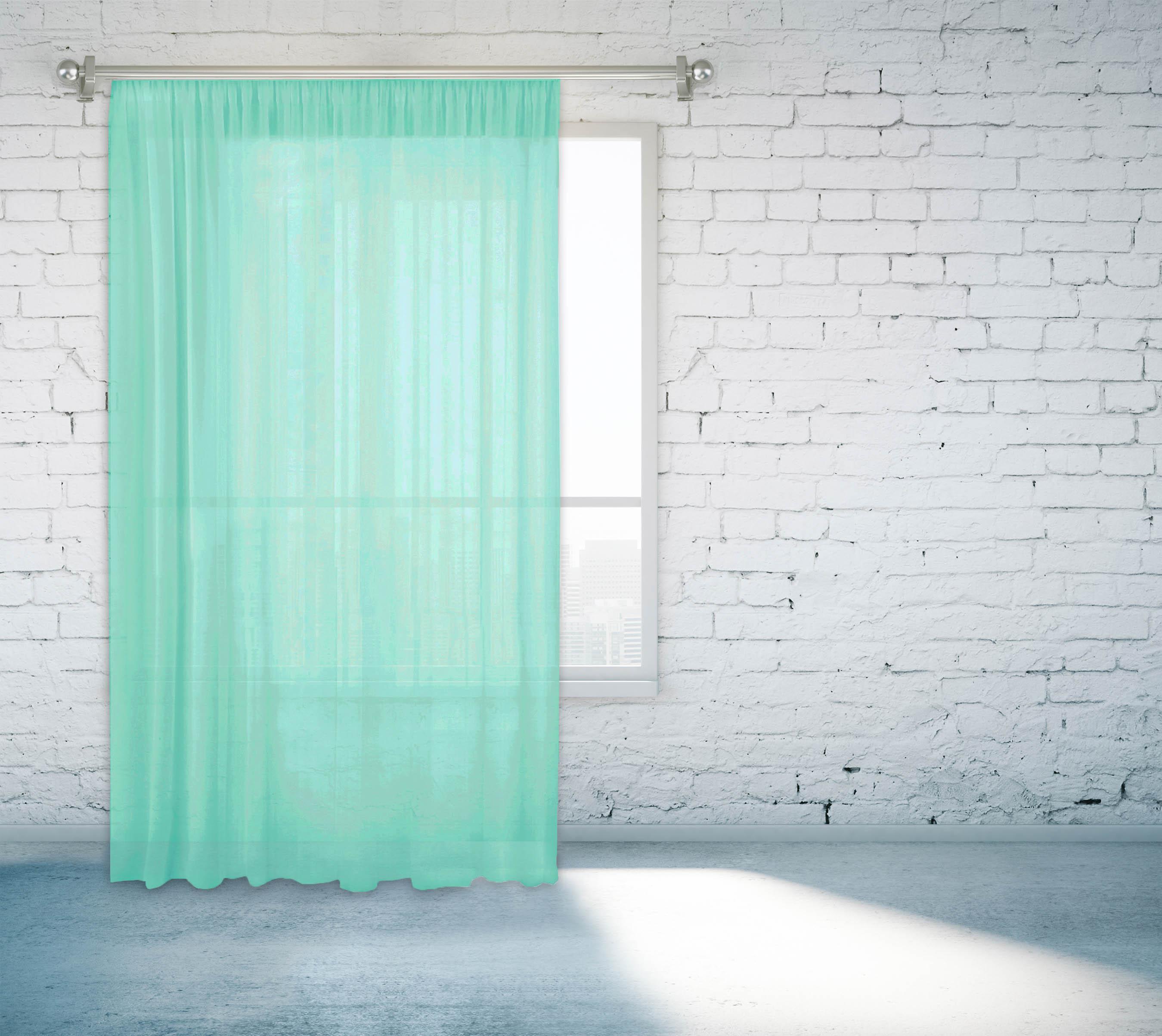 Купить Шторы Zlata Korunka, Классические шторы Adin Цвет: Бирюзовый, Россия, Голубой, Вуаль