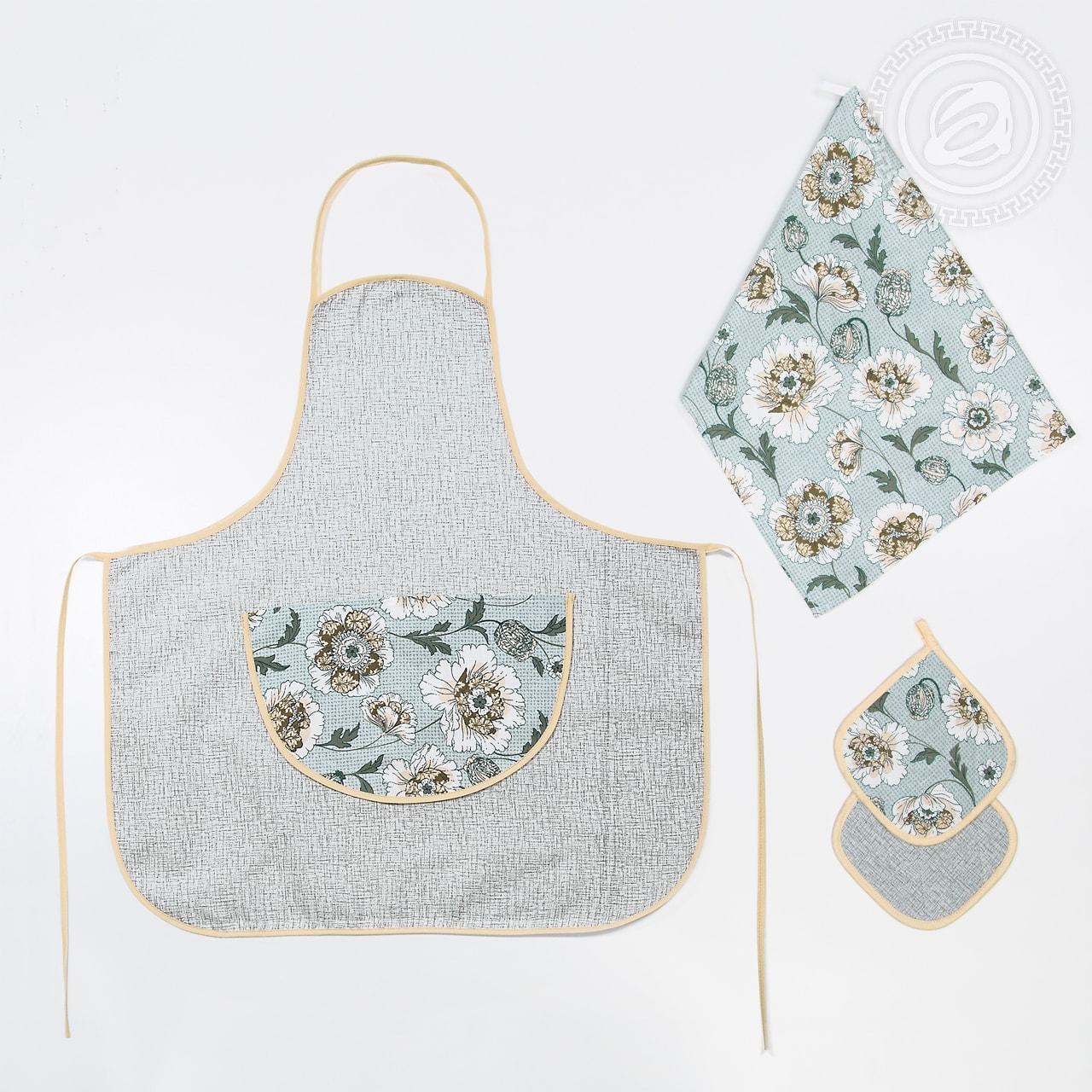 Кухонный набор фартук, полотенце + прихватка Флейта