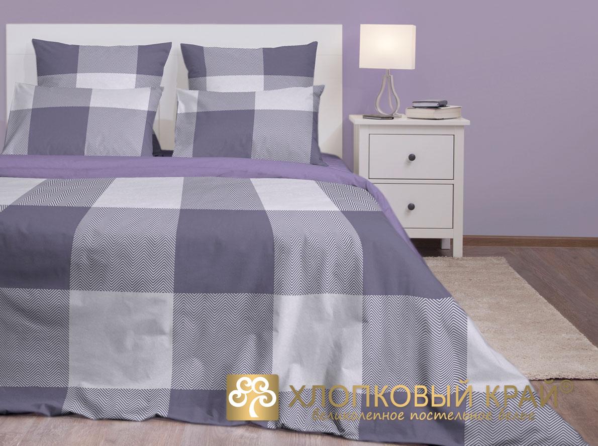 Купить Комплекты постельного белья Хлопковый Край, Постельное белье Лондон Цвет: Серый (2 сп. евро), Россия, Серый, Сиреневый, Бязь