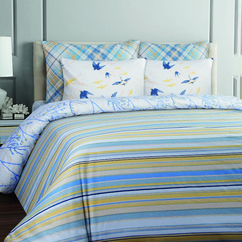 Купить Комплекты постельного белья Mona Liza, Постельное белье Stripe Blue (семейное), Россия, Голубой, Желтый, Бязь