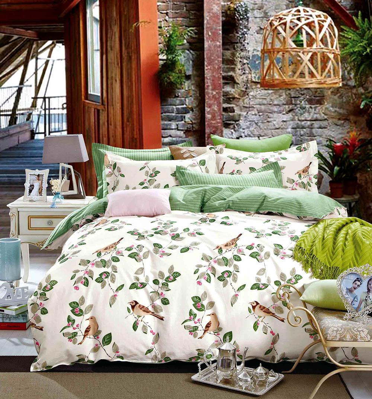 Купить Комплекты постельного белья Tango, Постельное белье Sedona (семейное), Китай, Зеленый, Розовый, Хлопковый сатин