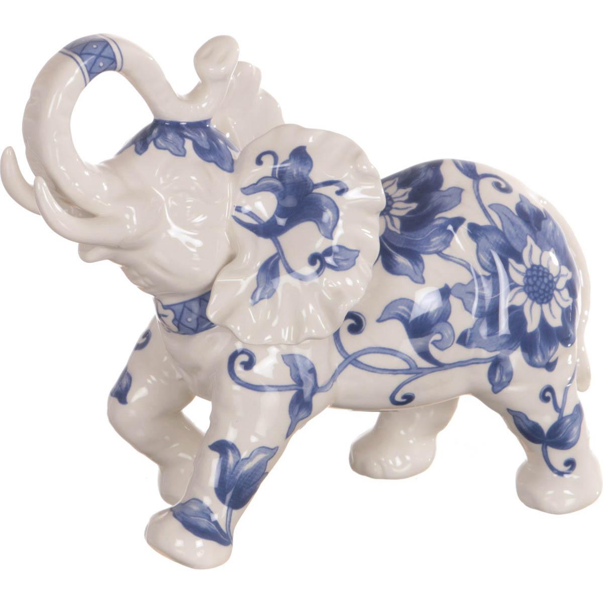 Купить Статуэтки и фигурки Arti-M, Фигурка Слон (8х15х18 см), Китай, Бежевый, Синий, Керамика