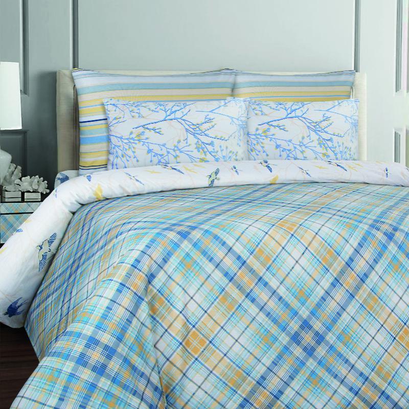 Купить Комплекты постельного белья Mona Liza, Постельное белье Cell Blue (семейное), Россия, Голубой, Желтый, Бязь