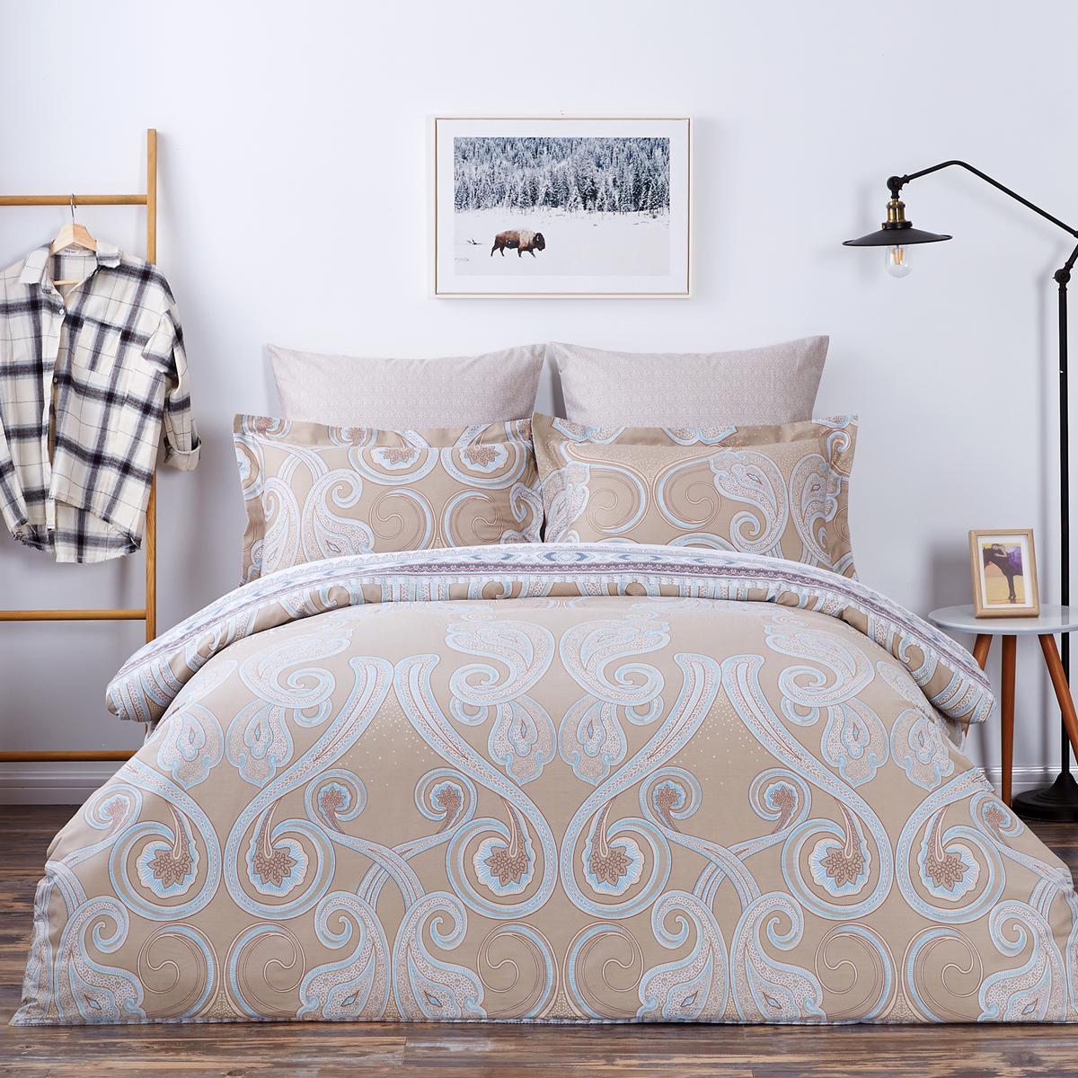 Купить Комплекты постельного белья Arya, Постельное белье Tierra (2 сп. евро), Турция, Бежевый, Хлопковый сатин