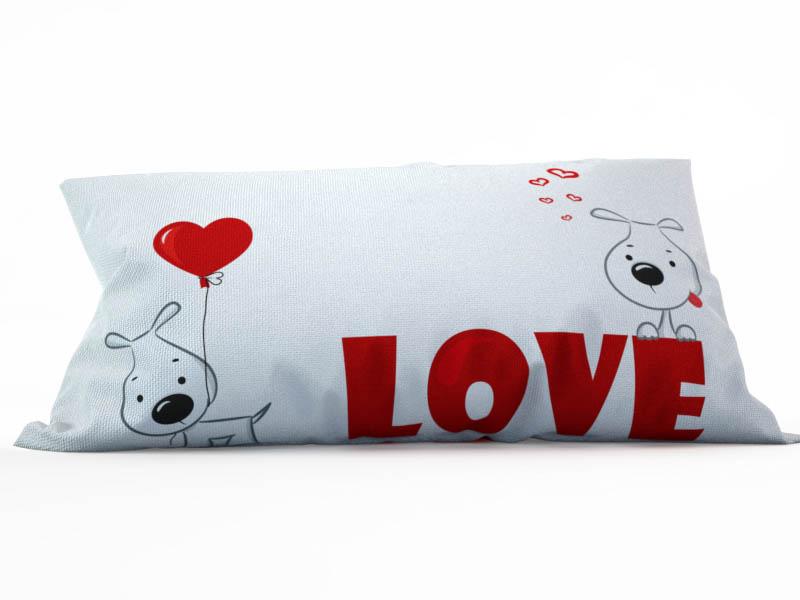 Купить Декоративные подушки StickButik, Декоративная подушка Счастливые Песики (25х45), Россия, Белый, Красный, Микрофибра