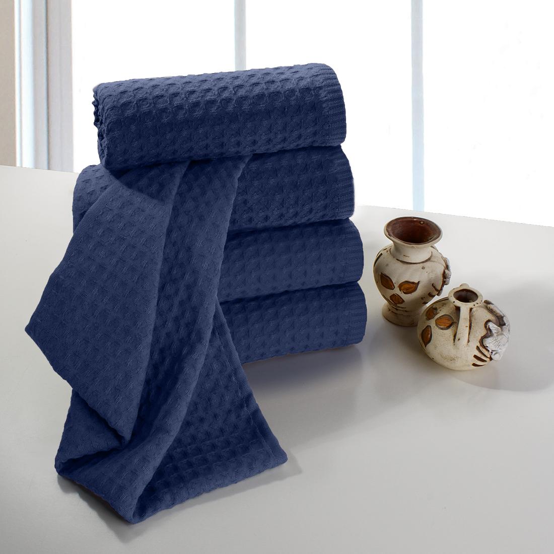 Купить Полотенца Dome, Полотенце для рук Ribbed Цвет: Темно-Синий (40х70 см - 5 шт), Дания, Пике