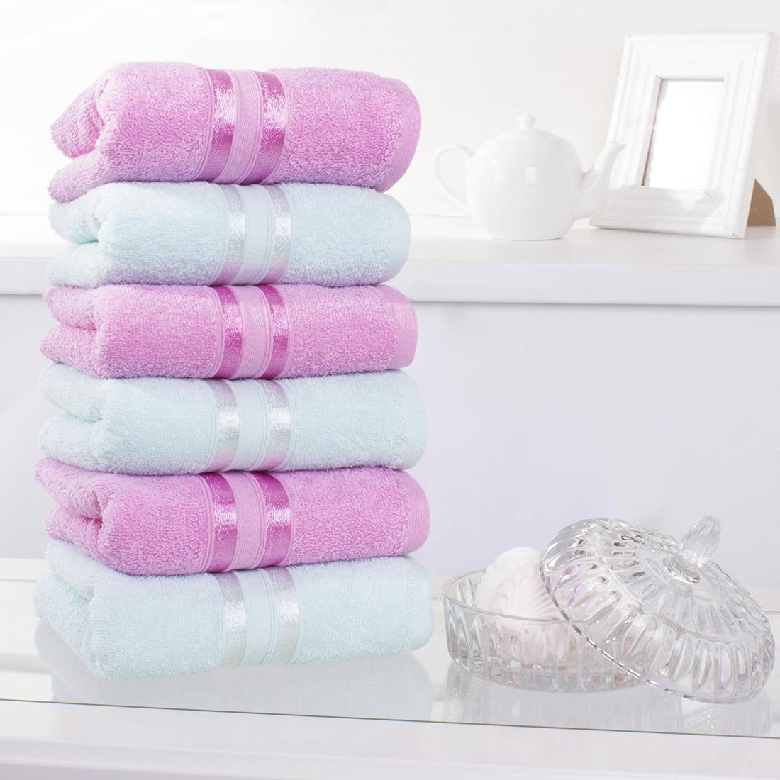 Купить Полотенца Dome, Полотенце для рук Harmonika Цвет: Розовая Вишня, Ментоловый (33х50 см - 6 шт), Дания, Махра
