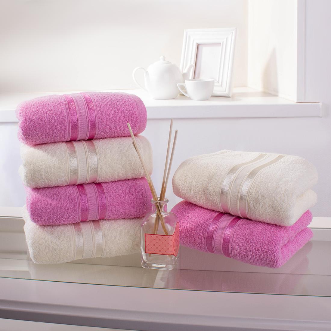 Купить Полотенца Dome, Полотенце для рук Harmonika Цвет: Розовая Вишня, Молочный (33х50 см - 6 шт), Дания, Махра