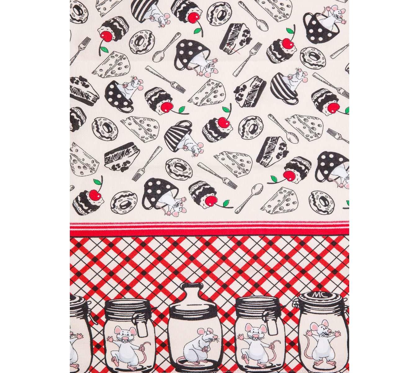 Кухонное полотенце Мыши в банках цвет: красный, зеленый (45х73 см - 2 шт)
