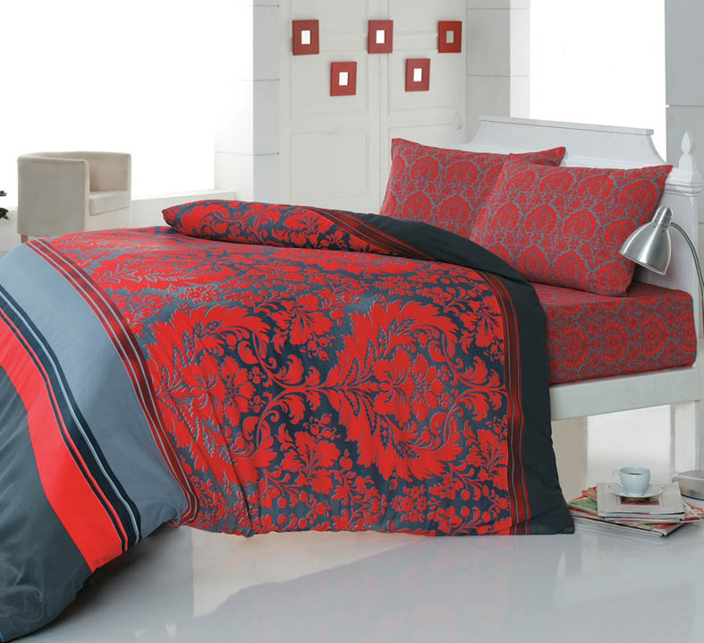 где купить Комплекты постельного белья Cotton Life Постельное белье Damask Цвет: Красный (2 сп. евро) по лучшей цене