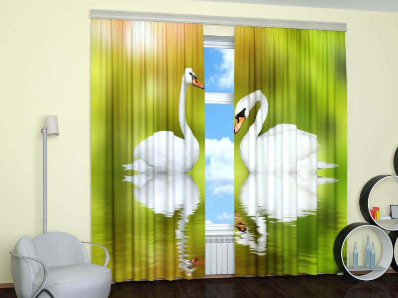 Шторы StickButik Фотошторы Влюбленные Лебеди
