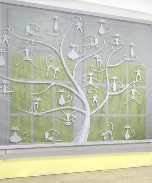 Купить Шторы Wisan, Классические шторы Коты на дереве, Польша, Жаккард