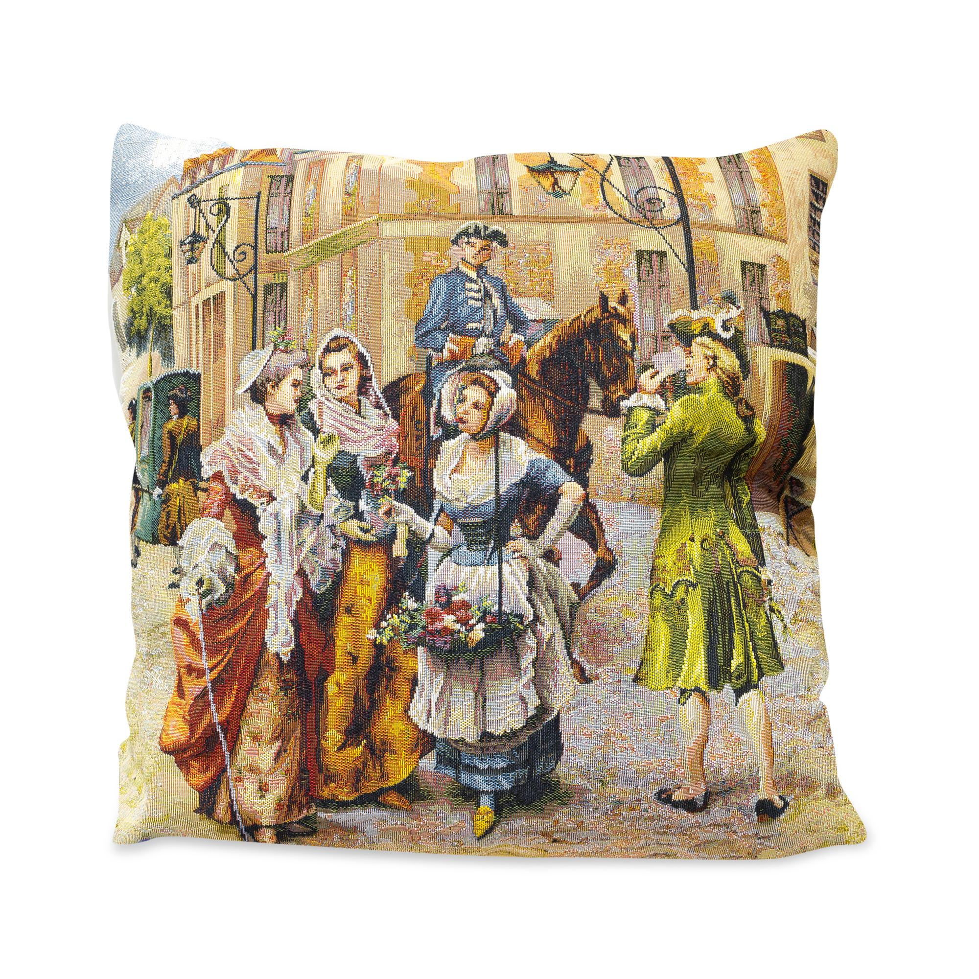 Купить Декоративные подушки A La Gobelin, Декоративная подушка Старый Париж - Цветочница (45х45), Россия, Мультиколор, Гобелен