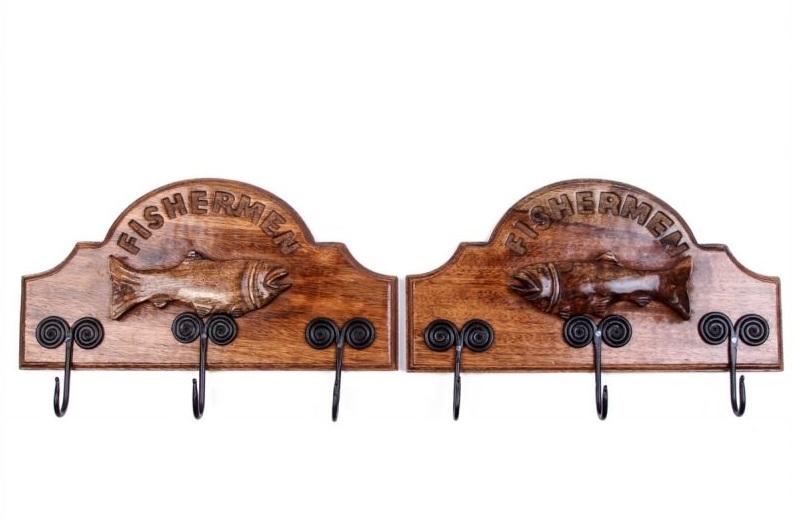 Купить Вешалки-плечики Ганг, Вешалка Рыбак (6х20х40 см - 2 шт), Индия, Латунь