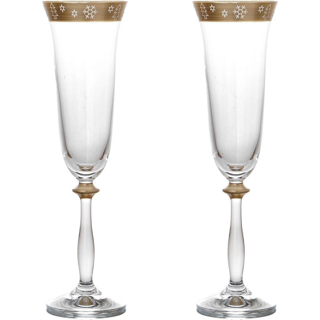 Набор бокалов для шампанского Новогодний (190 мл - 2 шт) Bohemia Crystal bhi409205