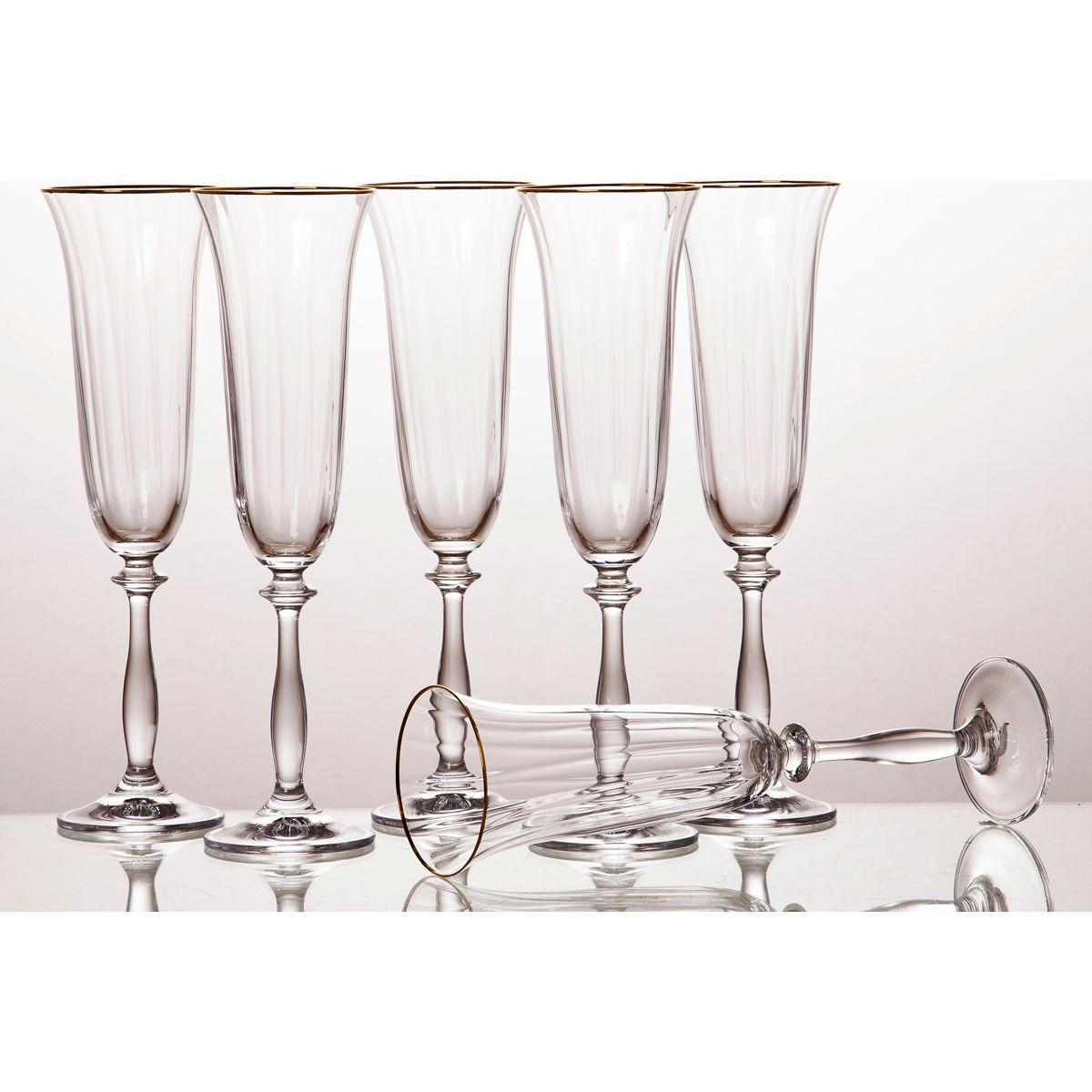 Набор бокалов для шампанского Анжела (190 мл - 6 шт) Bohemia Crystal bhi379927