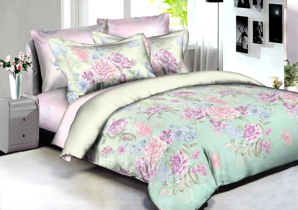 Купить Комплекты постельного белья Amore Mio, Постельное белье Toulouse (2 сп. евро), Китай, Зеленый, Розовый, Хлопковый сатин