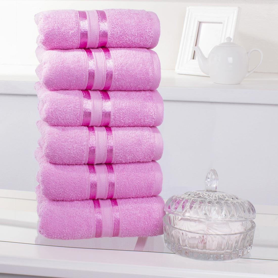 Купить Полотенца Dome, Полотенце для рук Harmonika Цвет: Розовый (33х50 см - 6 шт), Дания, Махра