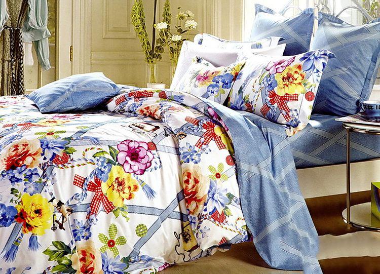 Купить Комплекты постельного белья Tango, Постельное белье Wilbur (2 спал.), Китай, Голубой, Желтый, Хлопковый сатин