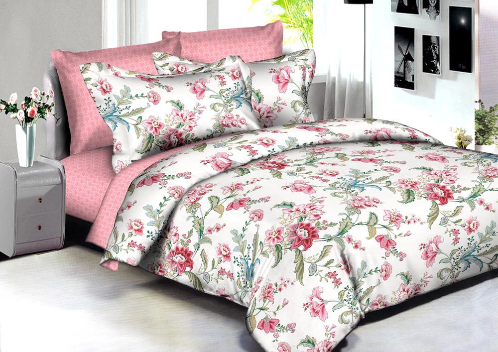 Купить Комплекты постельного белья Amore Mio, Постельное белье Rome (2 сп. евро), Китай, Зеленый, Розовый, Хлопковый сатин