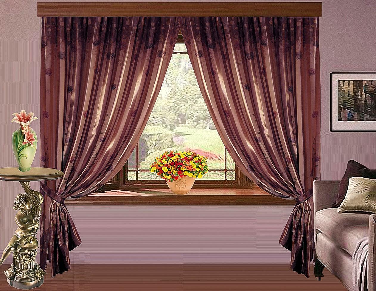 Купить Шторы Elegante, Классические шторы Katey Цвет: Венге, Россия, Blackout