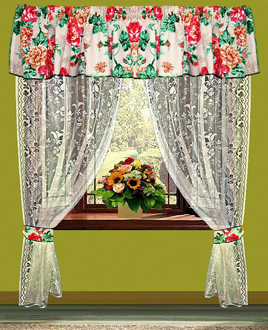 Купить Шторы Elegante, Шторы с ламбрекеном Цветы, Китай, Зеленый, Красный, Тюль, Рогожка