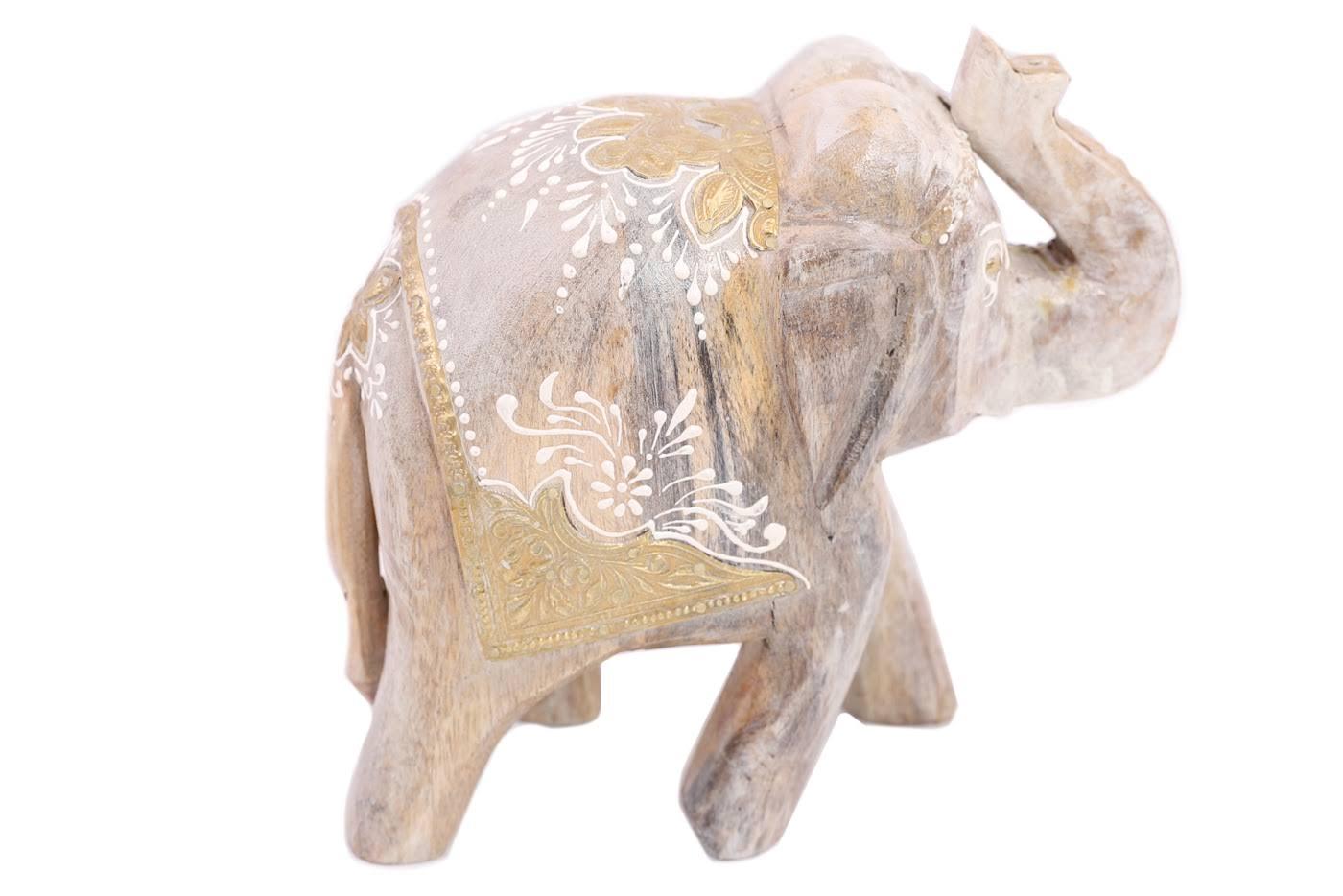 Купить Статуэтки и фигурки Ганг, Фигурка Слон Цвет: Бежевый (10х20х21 см), Индия, Дерево, Латунь