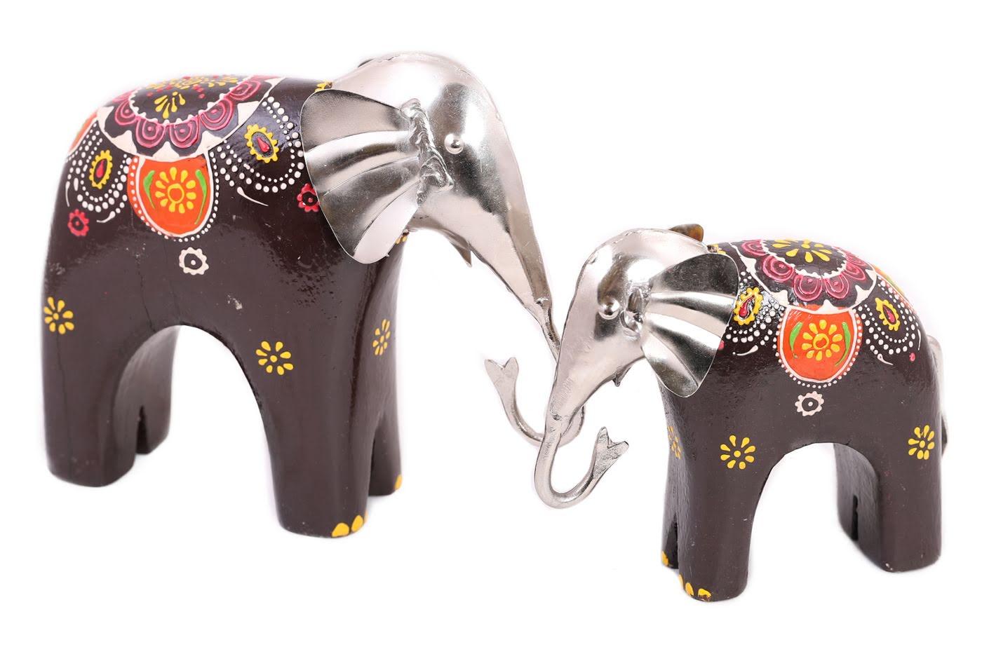 Фигурка Слоны Цвет: Бежевый, Мультиколор (5х12х15 см, 5х18х20 см) Ганг gng371198