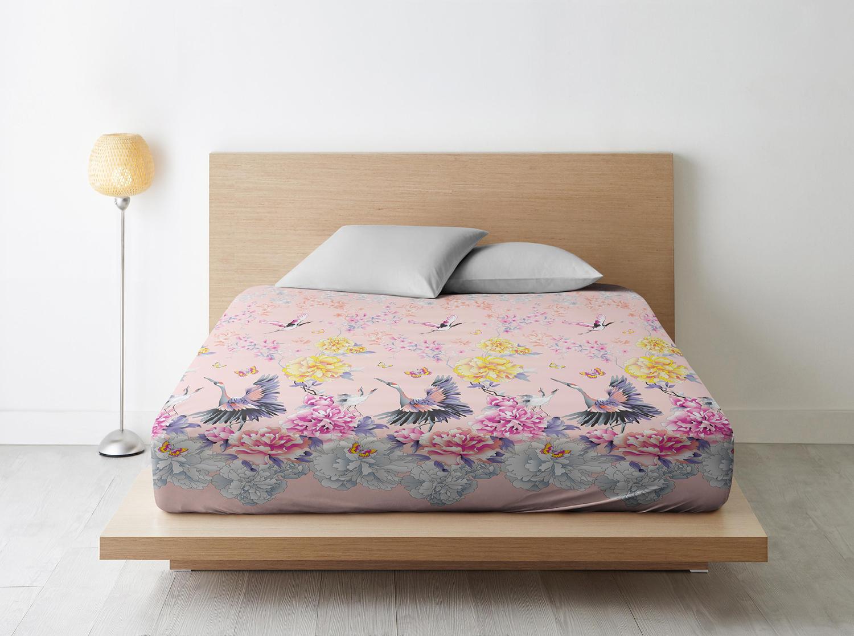Простыня Журавли цвет: розовый (220х240)