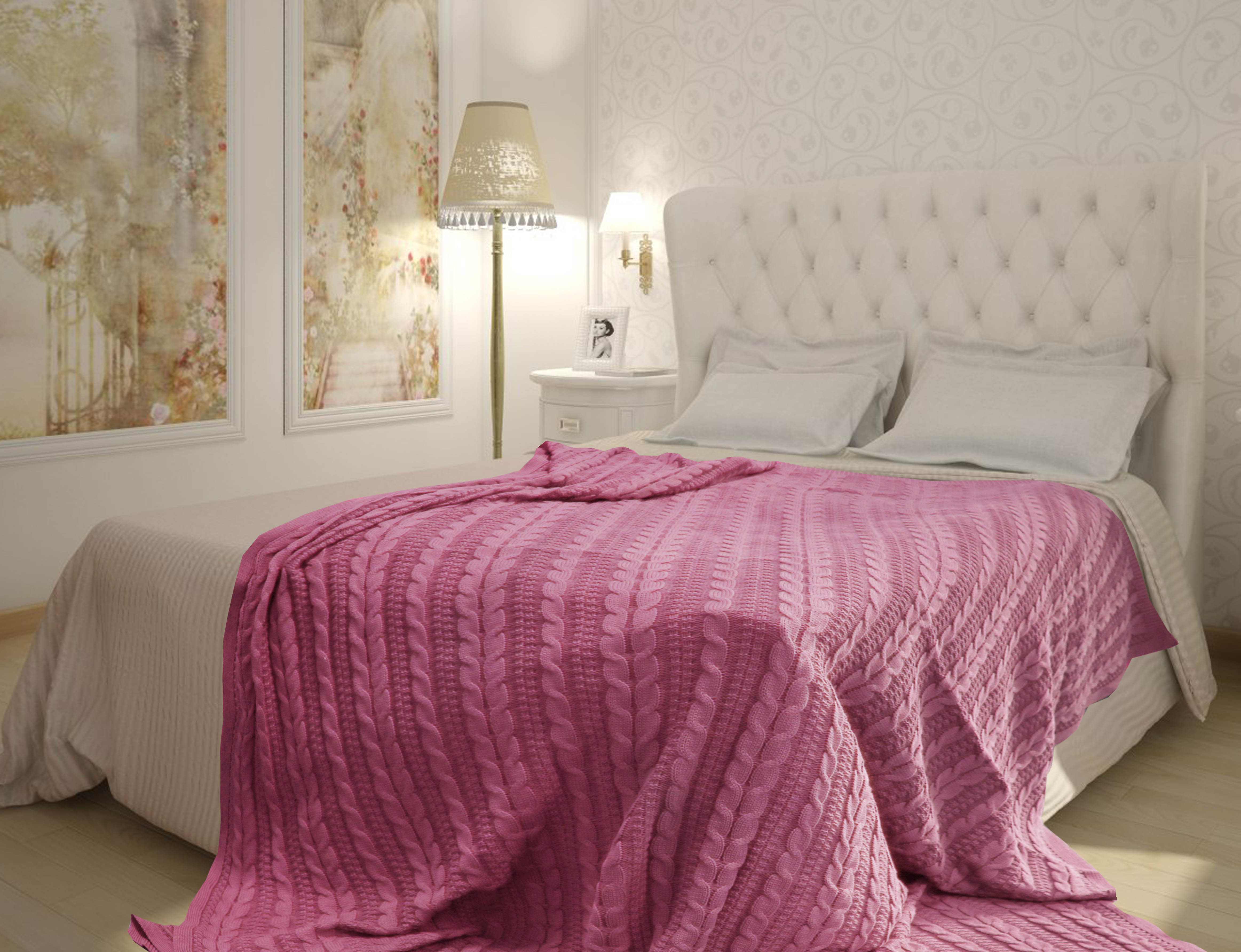 Пледы и покрывала Buenas Noches Плед Braid Цвет: Розовый (150х200 см) плед bella casa плед коралл цвет розовый 150х200 см