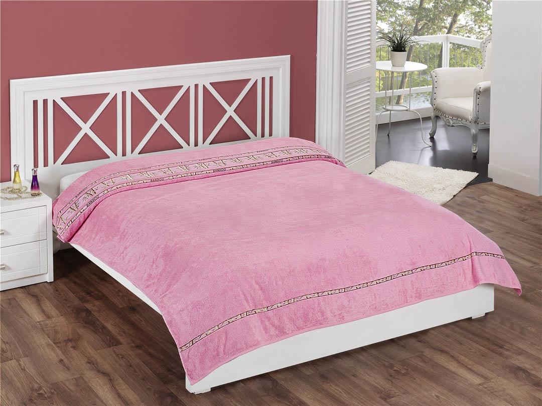 Купить Простыни Beautiful Rose, Покрывало-простыня Vip Цвет: Розовый (200х220 см), Турция, Бамбуковая махра