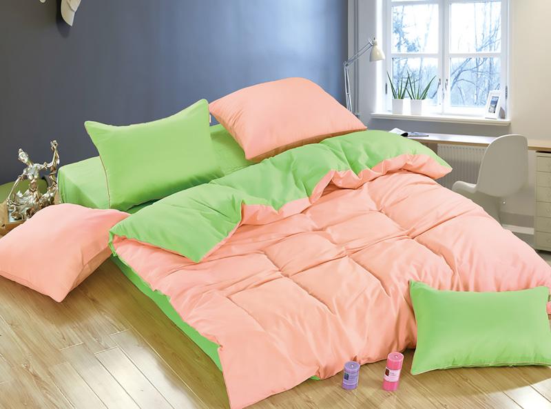 Комплекты постельного белья KAZANOV.A, Постельное белье Due Di Fiori Цвет: Персиковый, Салатовый (семейное), Китай, Зеленый, Персиковый, Хлопковый сатин  - Купить