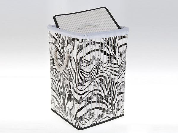 Купить Корзины, коробки и контейнеры White CLEAN, Корзина для белья Lorene (35х35х55 см), Китай, Черно-белый, Текстиль, Дерево