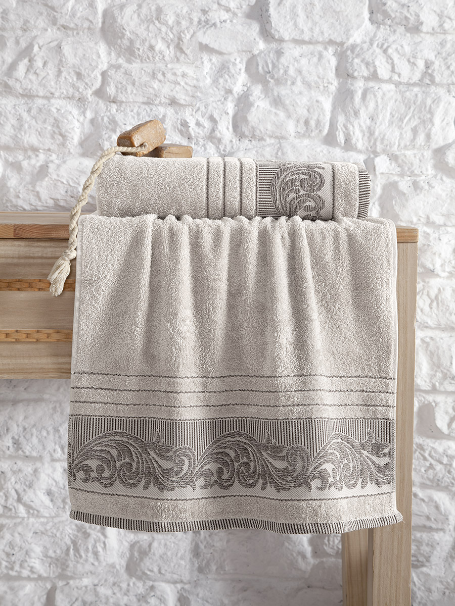 Купить Полотенца Karna, Полотенце Mervan Цвет: Бежевый (70х140 см), Турция, Махра