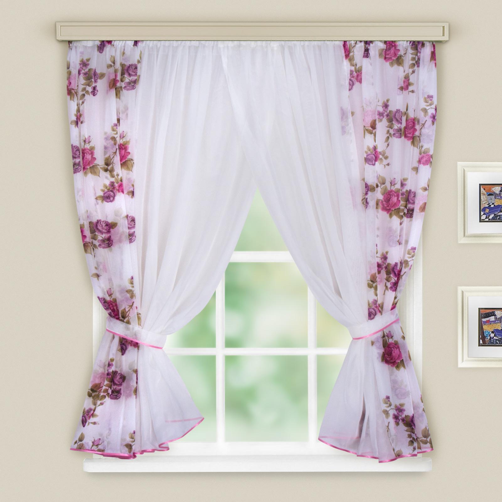 Купить Шторы Witerra, Скрещенные шторы Минима Цвет: Темно-Розовый, Россия, Вуаль