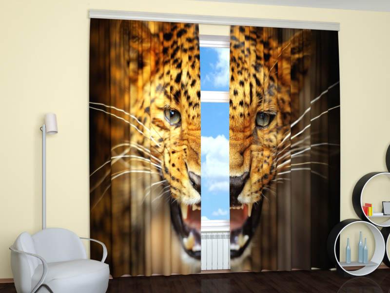 Шторы StickButik Фотошторы Грозный Леопард