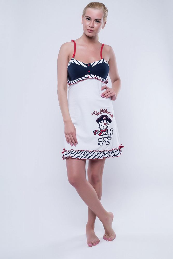 Ночная сорочка Poppy Цвет: Белый, Тёмно-Синий (50) фото