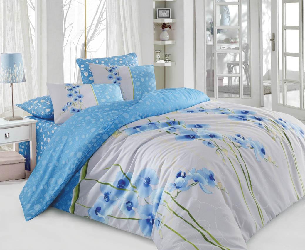 Купить Комплекты постельного белья Cotton Life, Постельное белье Orkide Цвет: Голубой (1, 5 спал.), Турция, Голубой, Серый, Бязь