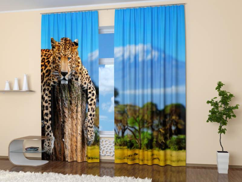 Шторы StickButik Фотошторы Томный Леопард