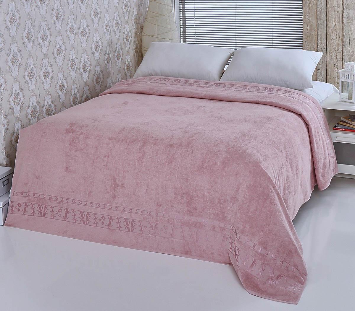Купить Простыни Pupilla, Покрывало-простыня Elit Цвет: Грязно-Розовый (200х220 см), Турция, Бамбуковая махра