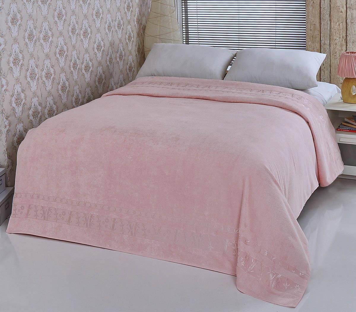 Купить Простыни Pupilla, Покрывало-простыня Elit Цвет: Розовый (200х220 см), Турция, Бамбуковая махра