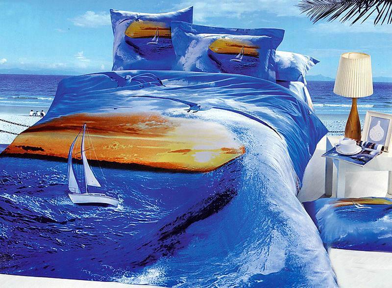 Купить Комплекты постельного белья Tango, Постельное бельеCayley(2 спал.), Китай, Голубой, Оранжевый, Хлопковый сатин