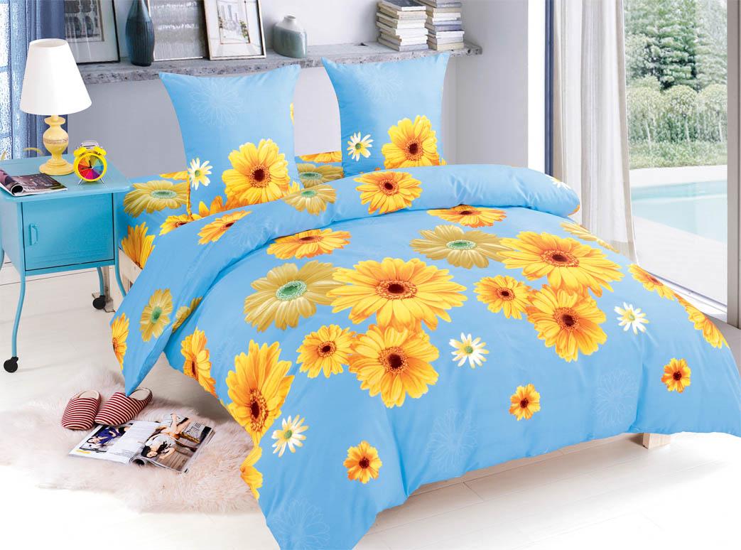 Купить Комплекты постельного белья Amore Mio, Постельное белье Emma (2 спал.), Китай, Голубой, Желтый, Поплин