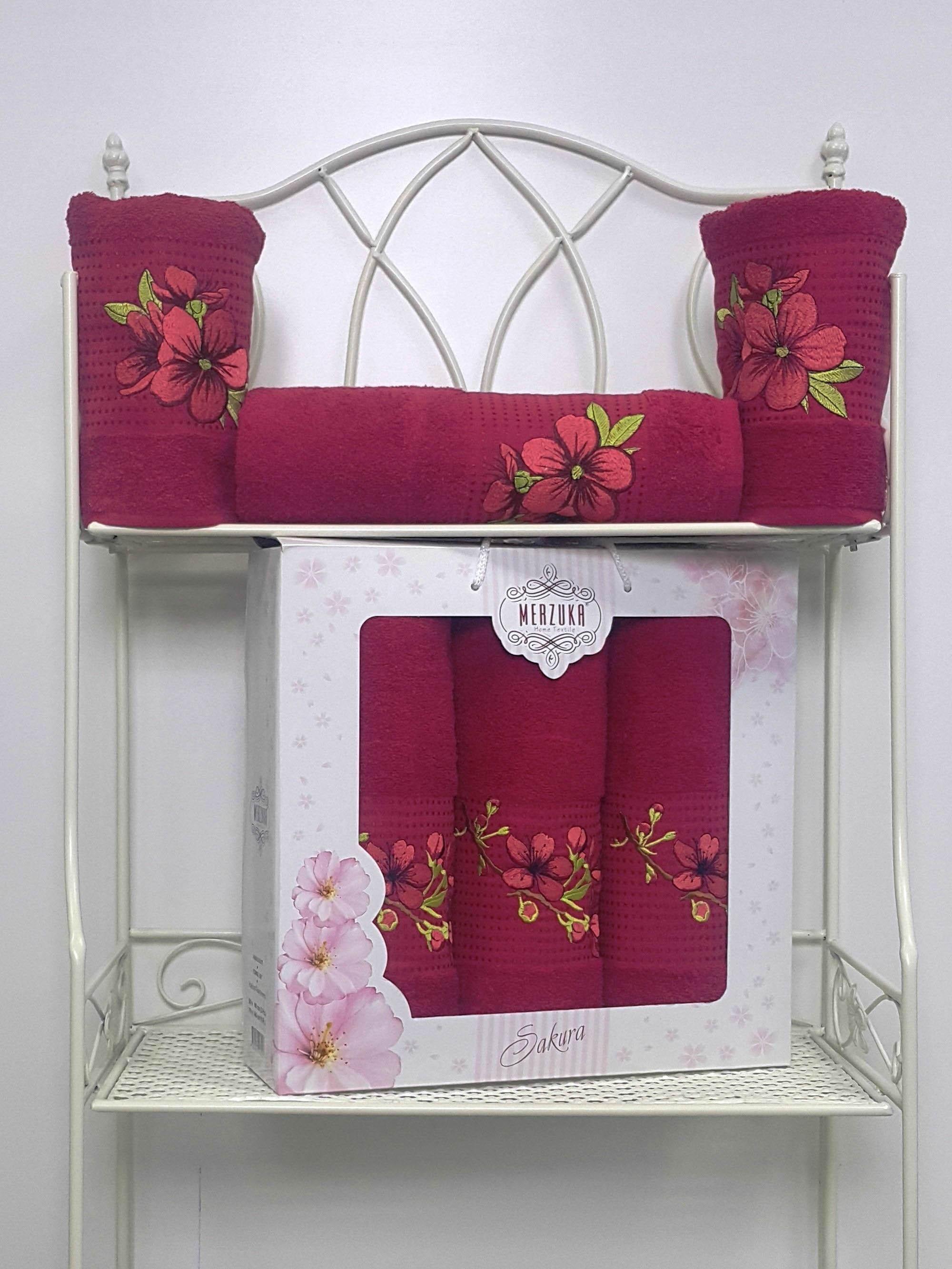 Полотенца Oran Merzuka Полотенце Sakura Цвет: Бордовый (Набор) полотенца oran merzuka полотенце sakura цвет светло лиловый набор